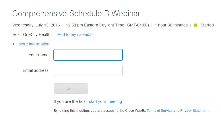 """This is an example from a previous webinar. """"Your name"""" should be your organization name."""